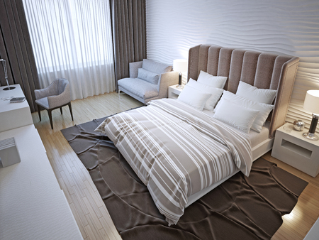 white interior: Hotel bedroom interior. Contemporary bedroom with white wavy plaster walls, painted wood floors. 3D render Stock Photo