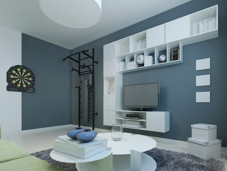 wall bars: Lounge contemporary style. Room with white furniture and dark blue walls. Wall bars and darts for particularly active. 3D render Stock Photo