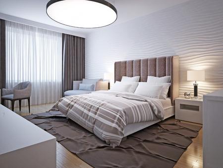 Big bedroom modern style. 3D render Banco de Imagens