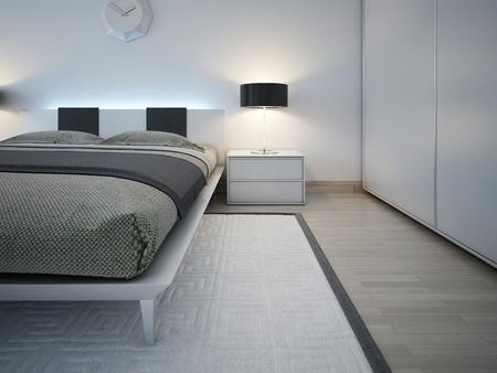 trend: Elegant monochrome bedroom trend. 3D render Stock Photo