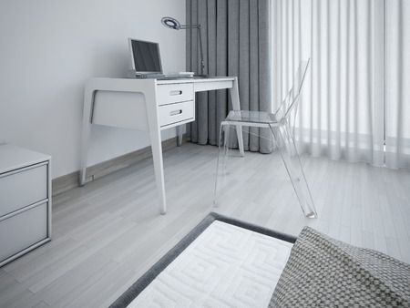 designer chair: Working area in minimalist bedroom. Stylish workplace in the bedroom near the window. Transparent designer chair and a table of gray. 3D render