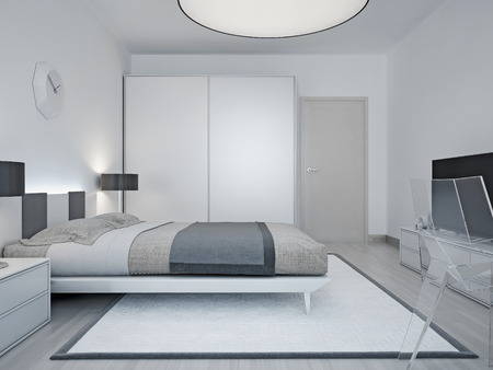 Modern hotel room design. Room with luxury bed, black lamp, wardrobe with sliding door, and a large round lamp on the ceiling. 3D render Stock fotó