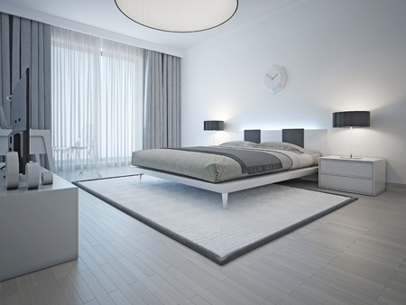Spacious contemporary styled bedroom with double bed, white carpet and light grey walls and furniture. 3D render