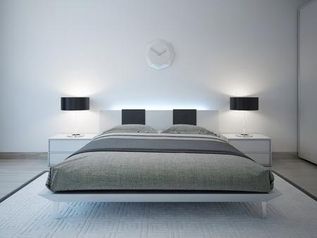 Chambre moderne avec un mobilier d'éclairage de pointe. 3D render Banque d'images - 46197863