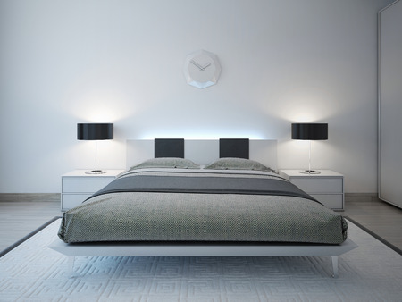 bedroom area: Modern bedroom with advanced lighting furniture. 3D render