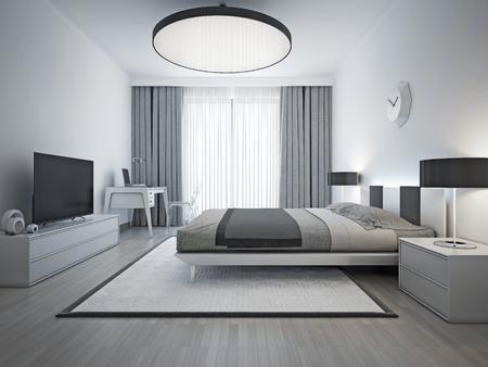 cortinas: dormitorio elegante estilo contemporáneo. Monocromo interior del dormitorio con cama de matrimonio y elegante alfombra estampada blanco con marco negro. 3D rinden