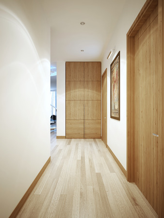 plinth: Long corridor contemporary style. White wall with a flat brown plinth. Wardrobe at the end of the corridor. 3D render Stock Photo