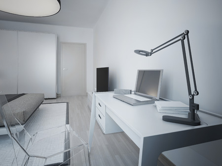 working area: Idea of working area in modern bedroom. White designer table and transparent glass chair. On a table lamp, laptop, electronic watches, notebooks. 3D render