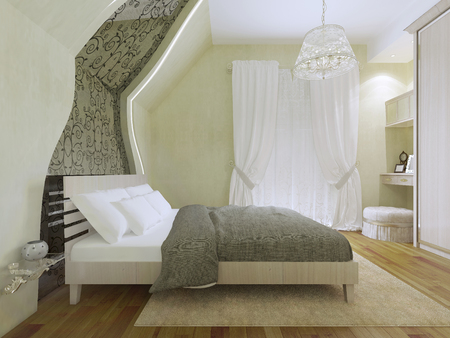 cream colored: Idea of spacious modern bedroom with balcony entrance. Cream colored carpet and flooring made of pallets. 3D render