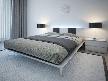 Double bed with bedside table in minimalist style. 3D render