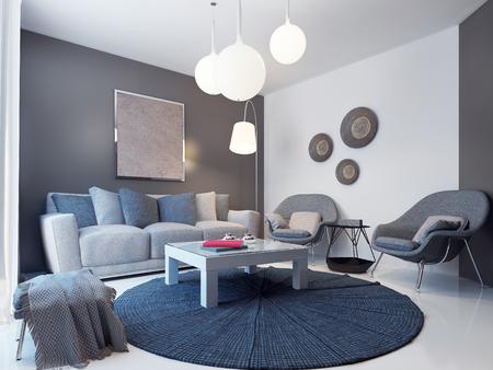 Design of modern lounge. 3D render