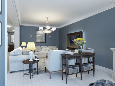 interior decor: Idea of classic lounge with navy walls. 3D render Stock Photo