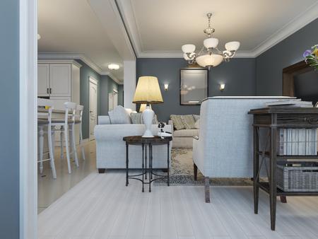 Idea of provence living room. 3D render