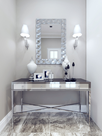 Design of classic hall. Mirror with decorative frame, wall, console, marble floor tiles. White and beige walls. 3D render