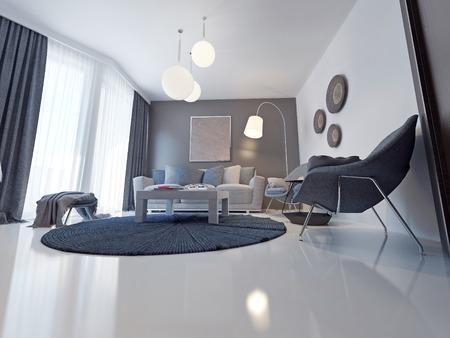 Sofá de tejido en una moderna sala de estar. 3D render