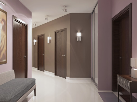 sliding doors: Elegant modern hallway trend. Spacious entrance hall with brown doors, pink and brown walls, wardrobe with sliding doors and elegant white polished flooring. 3D render