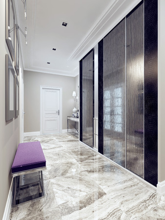 Entrance hall modern style. Inspiration for a contemporary hallway entry with beige walls, light polished marble tile floors, a single front door. 3D render