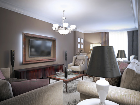 living style: Sitting room classic design. 3D render