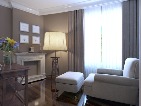 shiny floor: Armchair near fireplace provence design of lounge. Shiny parquet floor, marble fireplace cladding. Large floor lamp and a wall of dark beige. 3D render