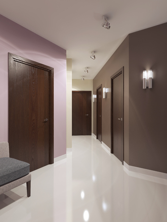 sconces: Idea of contemporary corridor. Dark brown doors and multicolored walls. Bright interior of elegant corridor with sconces and ceiling lamps. 3D render
