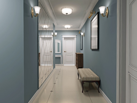 mirror on wall: Luxury entrance hall art deco design. Corridor with blue matt walls and white marble flooring. White ceiling and doors. Decorated wall mirror. 3D render