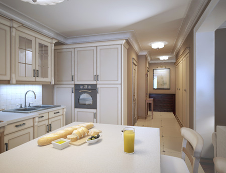 White kitchen art deco style. Design ideas for a traditional kitchen with white cabinets, marble countertops, white backsplash and stainless steel appliances. 3D render