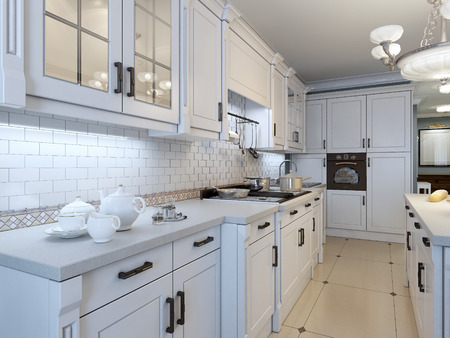 azul marino: El arte de la cocina de tendencia deco. 3D render Foto de archivo