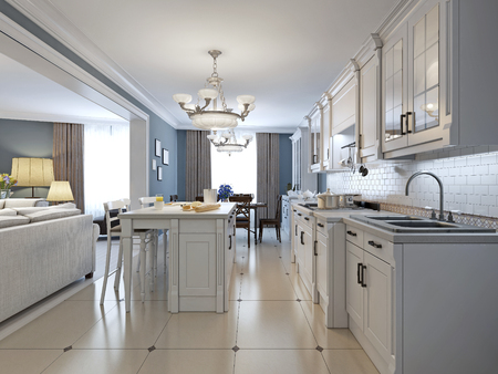 Kitchen with stainless steel appliances, white cabinets, white brick backsplash, glass tile backsplash, recessed-panel cabinets and granite countertops. 3D render