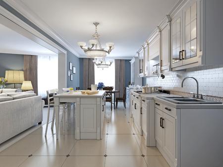 Keuken met roestvrij stalen apparatuur, witte kasten, witte bakstenen backsplash, glazen tegel backsplash, inbouw-panel kasten en granieten werkbladen. 3D render