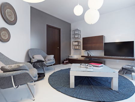 Minimalist Interior Of Bright Lounge With White And Grey Colored Walls,  White Low Table On Blue Carpet On Center. 3D Render