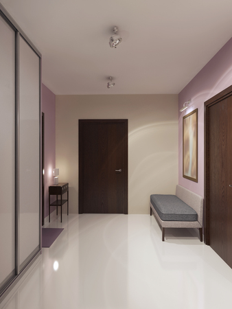 Diseño del espacioso vestíbulo minimalista. Crema y paredes de color rosa claro, techo blanco y suelos de hormigón pulido. 3D render
