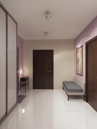 Hormigón: Diseño del espacioso vestíbulo minimalista. Crema y paredes de color rosa claro, techo blanco y suelos de hormigón pulido. 3D render