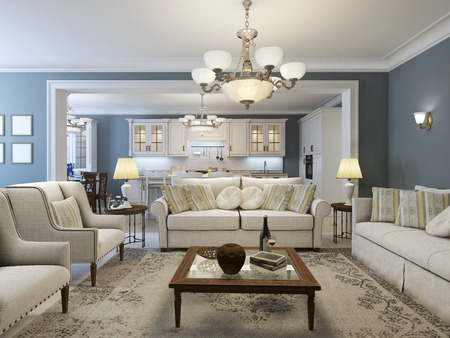 family in living room: Mediterranean living room trend. 3D render
