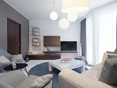 living room wall: Minimalist living room interior. Beautiful bright room with colorful original form walls, floor to ceiling windows and beautiful poured concrete floors white. 3D render