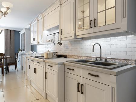 Witte meubels in de mediterrane keuken. 3D render Stockfoto