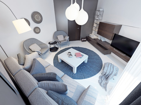 hinged: Modern living room with concrete flooring. 3D render