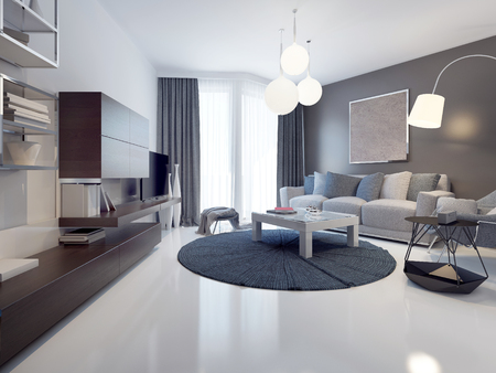 Idea of contemporary living room. White and grey walls, polished and varnish white concrete flooring. Floor-to-ceiling panoramic windows. 3D render