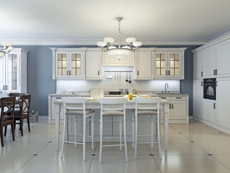 a kitchen: Bright art deco kitchen design. Glass-front cabinets, stainless steel appliances, white cabinets, marble countertops, white brick backsplash and navy colored walls. 3D render Stock Photo