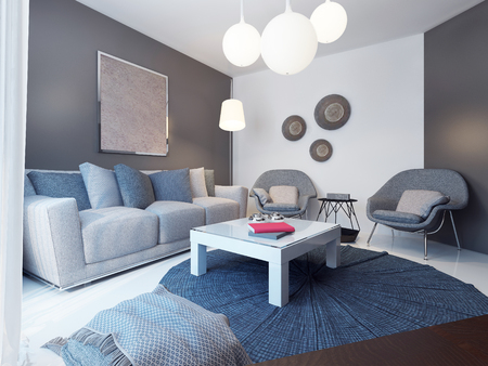 blue grey: Cozy lounge room minimalist style. 3D render