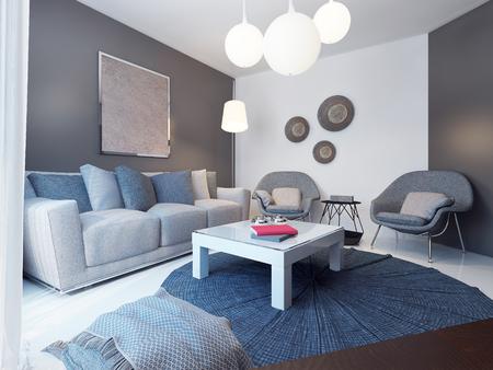 Salón acogedor estilo minimalista. 3D render