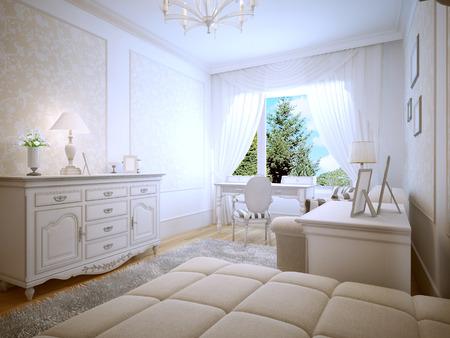 teen bedroom: Bright interior of teen bedroom. 3D render