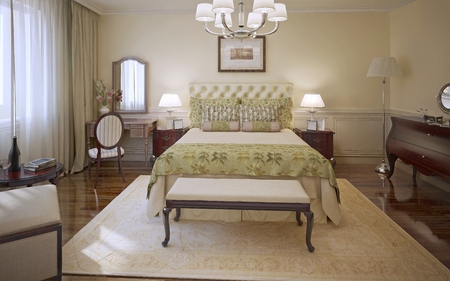 bedchamber: Elegant bedroom modern style. Master bedroom with cream colored molding walls, soft bed with olive blanket and cushions, mahogany furniture and patterned carpet. 3D render