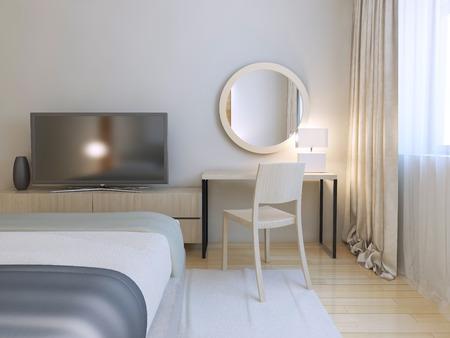 Moderne slaapkamer inter. Kamer met meubels en parketvloeren van licht hout. Ronde spiegel en eenvoudige kaptafel met stoel. 3D render Stockfoto