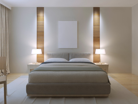 Modern master bedroom design. Dressed double bed with lether headboard, white walls with decorative niche of light wood texture near to bedside table. 3D render