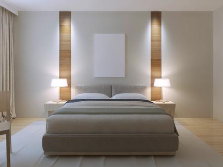 Modern master bedroom design. Gekleed tweepersoonsbed met lederen hoofdeinde, witte muren met decoratieve niche van licht houtstructuur in de buurt van nachtkastje. 3D render Stockfoto