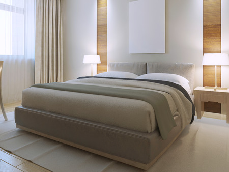 Bedroom contemporary style. Spacious room with decorative niche on the wall. Brand new dressed lether bed with snow-white cushions. 3D render 写真素材