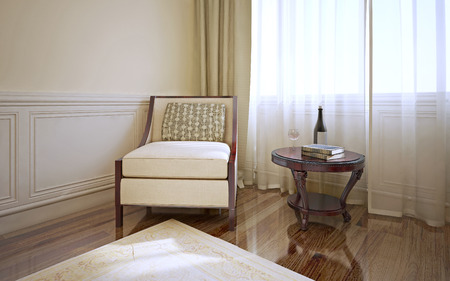 wood flooring: Room in classic style with armchair and coffee table. Dark wood flooring and light beige walls with molding. Cream patterned carpet. 3D render Stock Photo