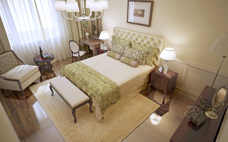 polished floors: Idea of classic bedroom with beige walls, polished floors and mahogany furniture. 3D render