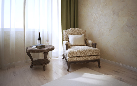 english oak: Patterned coffe table of dark oak and soft armchair with cushion near window in classic room. Light parquet, wall of decorated venetian plaster.3D render Stock Photo