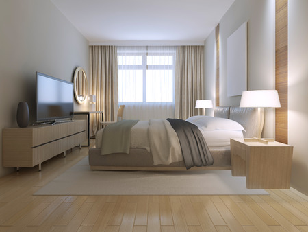 wood flooring: Contemporary bedroom design. Spacious room with light wood parquet flooring, light furniture and white walls with decorative niche. Massive double bed on white nylon carpet. 3d render